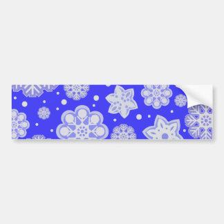 Winter Blue Christmas Snowflake Pattern Car Bumper Sticker