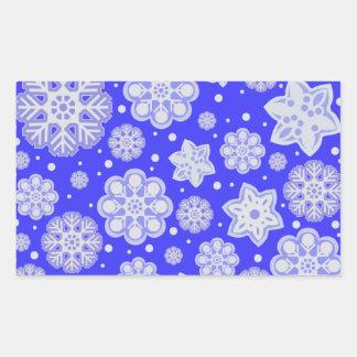 Winter Blue Christmas Snowflake Pattern Rectangular Sticker
