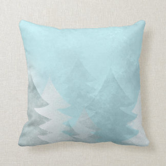 Winter Blue Christmas Trees MoJo Throw Pillow