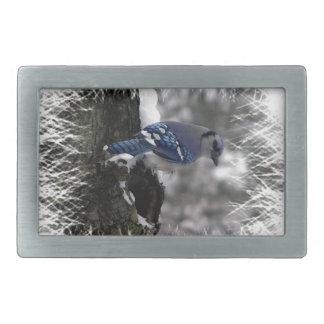 Winter Blue Jay Belt Buckle