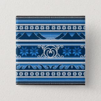 Winter Blue Nordic Design Pinback Button