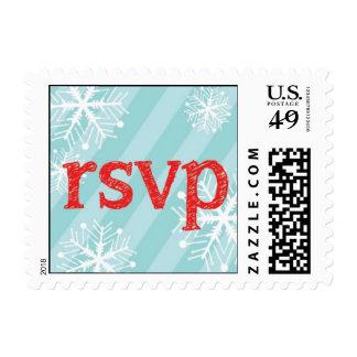 Winter Blue Red Snow Flake RSVP Stamp