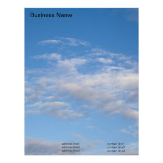 winter blue sky and clouds letterhead