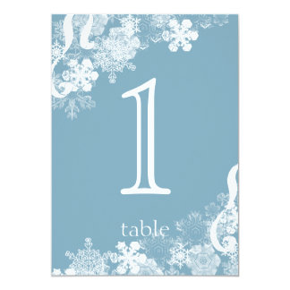 Winter Blue Snowflake Anniversary Table Number Card