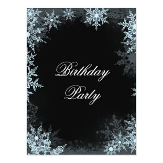 Winter Blue Snowflake Birthday Prty Card