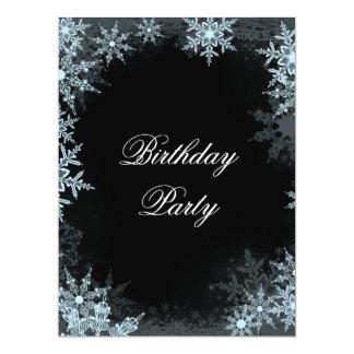 Winter Blue Snowflake Birthday Prty Custom Invite