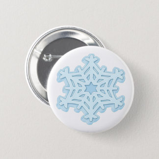Winter Blue Snowflake Christmas Yule Snow Xmas Ice Button