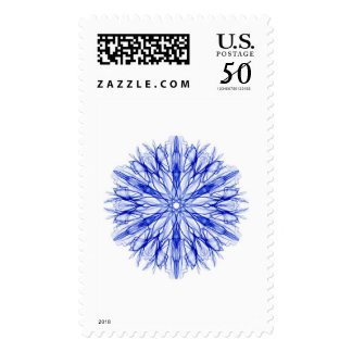 Winter Blue Snowflake Fractal Christmas Postage