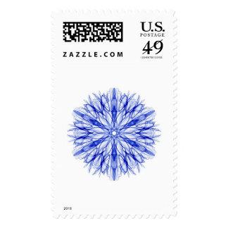 Winter Blue Snowflake Fractal Christmas Stamp