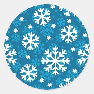 Winter Blue Snowflake Pattern Classic Round Sticker