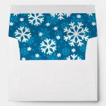 Winter Blue Snowflake Pattern Envelopes