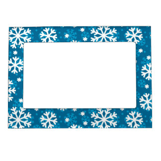 Winter Blue Snowflake Pattern Magnetic Photo Frame