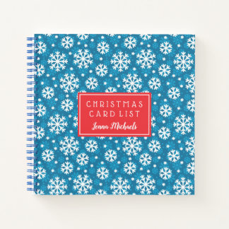 Winter Blue Snowflake Pattern Notebook