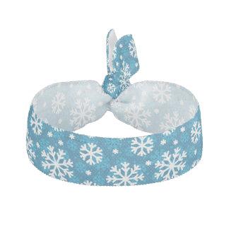 Winter Blue Snowflake Pattern Ribbon Hair Tie