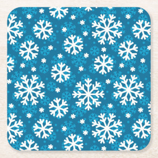 Winter Blue Snowflake Pattern Square Paper Coaster