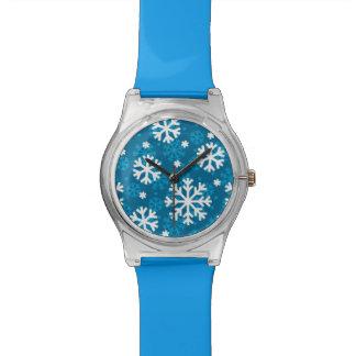 Winter Blue Snowflake Pattern Wristwatch