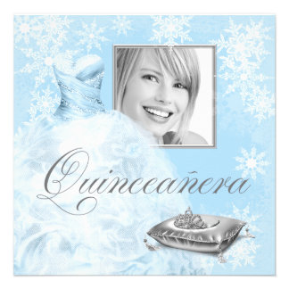 Winter Blue Snowflake Photo Quinceanera Invitation