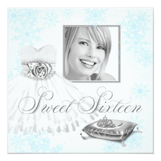 Winter Blue Snowflake Photo Sweet Sixteen Party Card