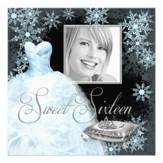 Winter Blue Snowflake Photo Sweet Sixteen Party Personalized Invitation