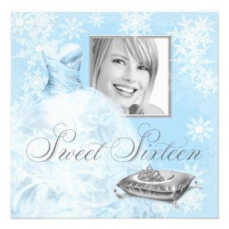 Winter Blue Snowflake Photo Sweet Sixteen Party Invitation