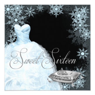 Winter Blue Snowflake Sweet Sixteen Party Announcements