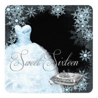 """Winter Blue Snowflake Sweet Sixteen Party 5.25"""" Square Invitation Card"""