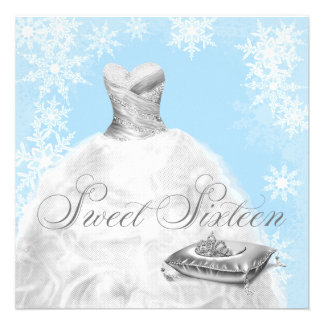Winter Blue Snowflake Sweet Sixteen Party Announcement