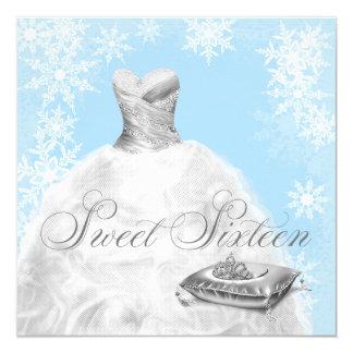 Winter Blue Snowflake Sweet Sixteen Party Invitation
