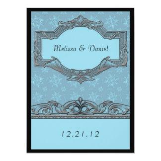 Winter Blue Snowflake Wedding Invitations
