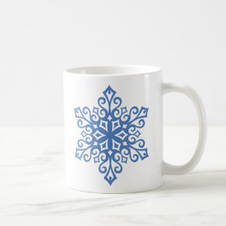 Winter Blue Snowflakes Hot Chocolate Mugs