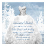 Winter Blue Snowflakes Quinceanera Invitations