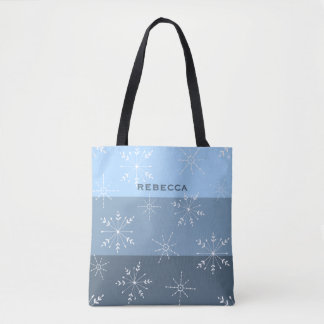 Winter Blue Stripes With Snowflake Pattern Tote Bag
