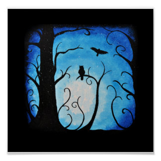Winter Blue Swirled Tree and Owls Poster
