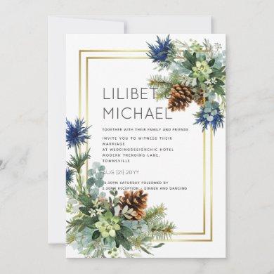 Winter Blue Thistle Eucalyptus Wedding Wonderland Invitation