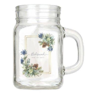 Winter Blue Thistle Eucalyptus Wedding Wonderland Mason Jar