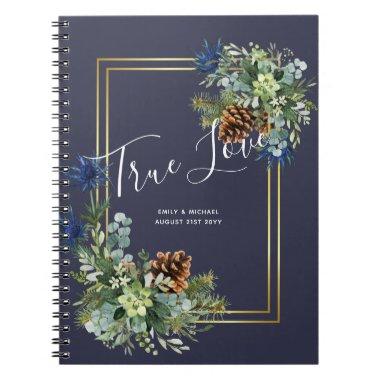 Winter Blue Thistle Eucalyptus Wedding Wonderland Notebook