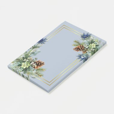 Winter Blue Thistle Eucalyptus Wedding Wonderland Post-it Notes