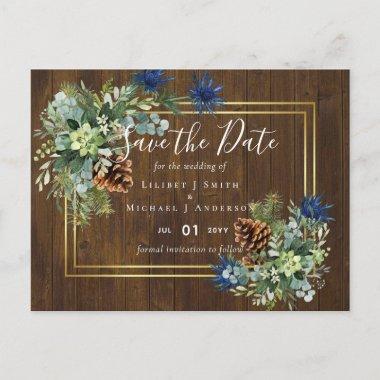 Winter Blue Thistle Eucalyptus Wedding Wonderland Postcard