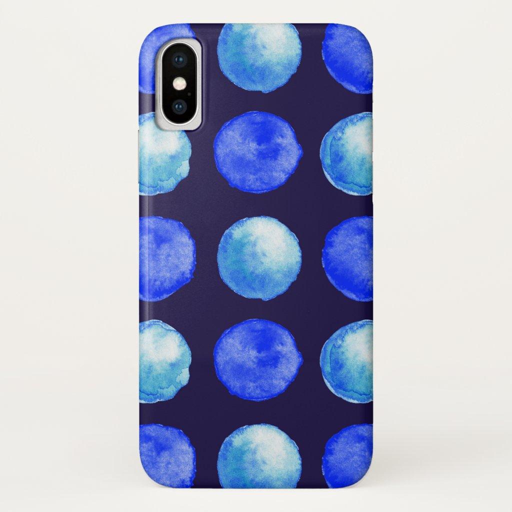 Winter Blue Watercolor Dots Pattern