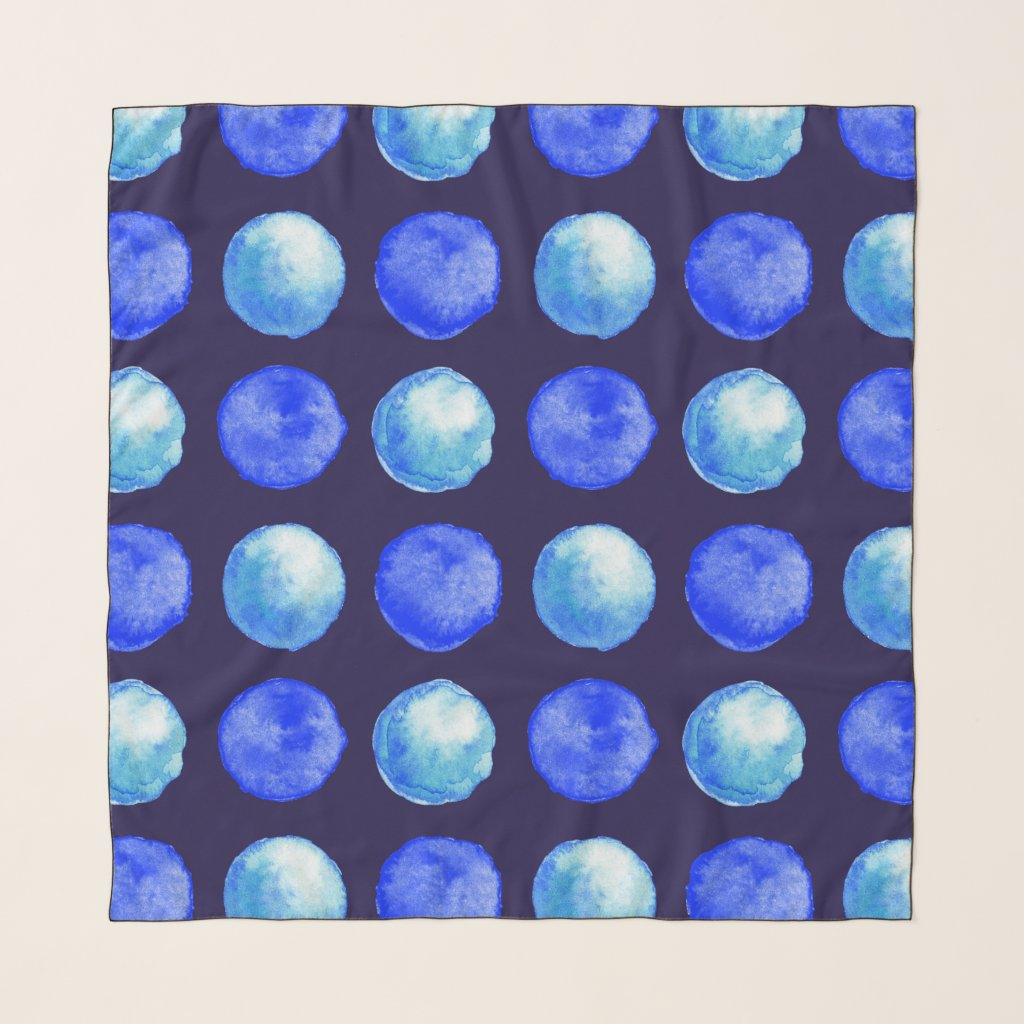 Winter Blue Watercolor Large Dots Pattern