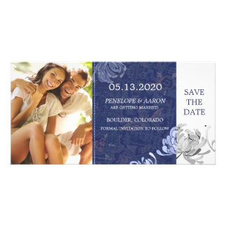 Winter Blue White Mum Floral Wedding Save the Date Photo Card Template