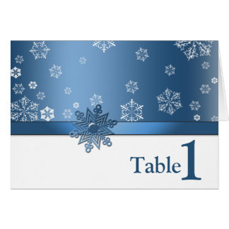 Winter Blue & White Snowflake Table Placement Card