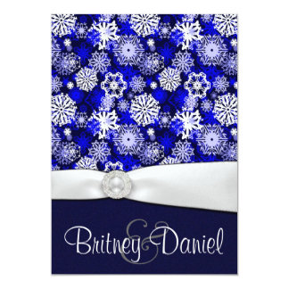 Winter Blue & White Snowflake Wedding Invitations