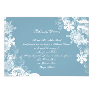 Winter Blue White Snowflake Wedding Rehearsal Personalized Announcement