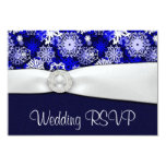 Winter Blue & White Snowflake Wedding RSVP Cards Personalized Announcements