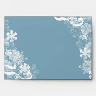 Winter Blue White Snowflakes Wedding Envelope