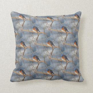 Winter Bluebird Nature Pattern Throw Pillow
