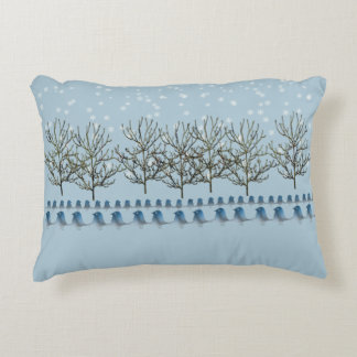 Winter Bluebirds in the Snow Decorative Pillow