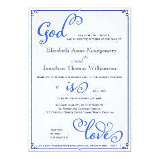 Winter Blues God is Love Wedding Invitation