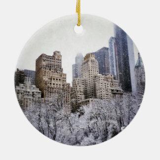 Winter Blues In Central Park Ceramic Ornament